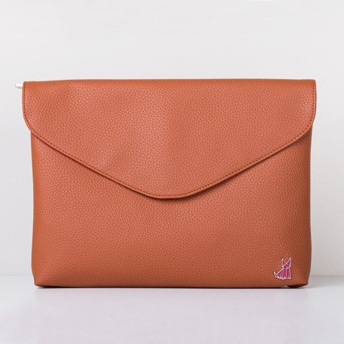 J-CLUTCH - Eco leather Light Brown