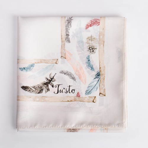 Feather Print Square Satin Scarf - 30 X 30