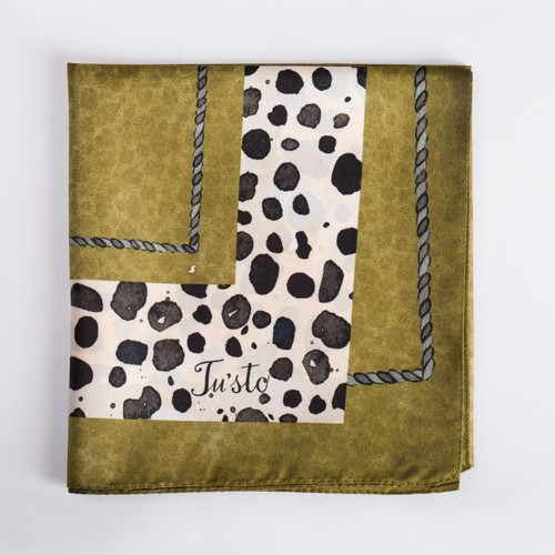 Green Spotted Animal Print Square Satin Scarf - 30 X 30