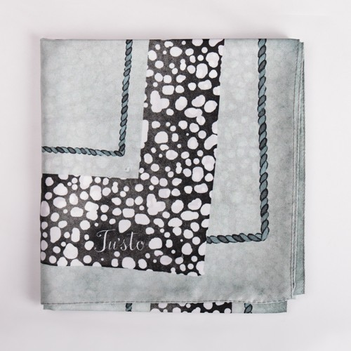 Blue Spotted Print Square Satin Scarf - 30 X 30
