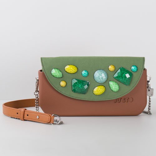 Brown Complete - J-POSH Snap Clutch - Green Stone